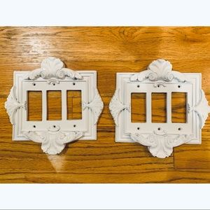 Resin Scroll Triple Toggle Switch Plate Covers